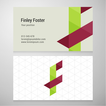 Modern letter F origami Business card template. Vector design. Layered editable.