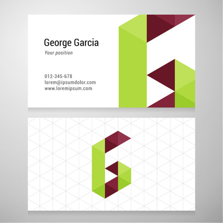 letter g: Modern letter G origami Business card template. Vector design. Layered editable.