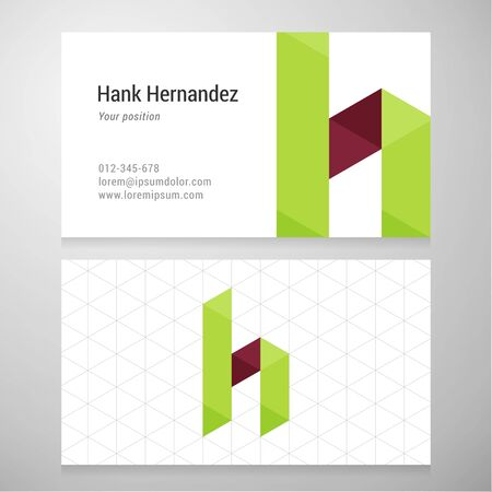 h: Modern letter H origami Business card template. Vector design. Layered editable.
