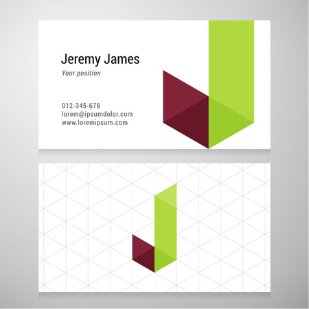 J: Modern letter J origami Business card template. Vector design. Layered editable.