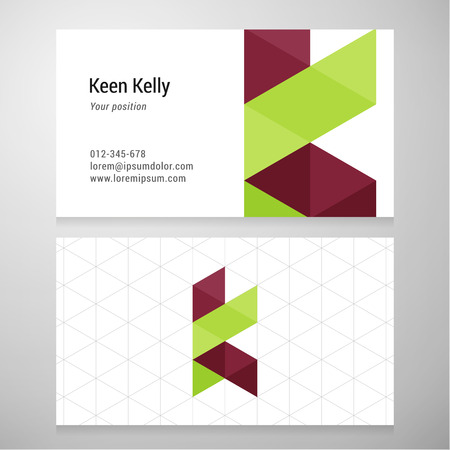 retro design: Modern letter K origami Business card template. Vector design. Layered editable. Illustration