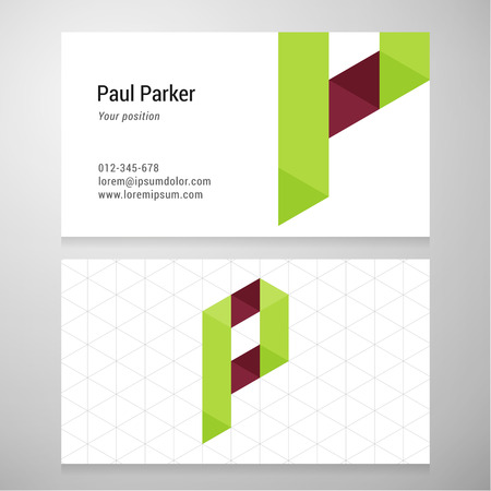 letter p: Modern letter P origami Business card template. Vector design. Layered editable.