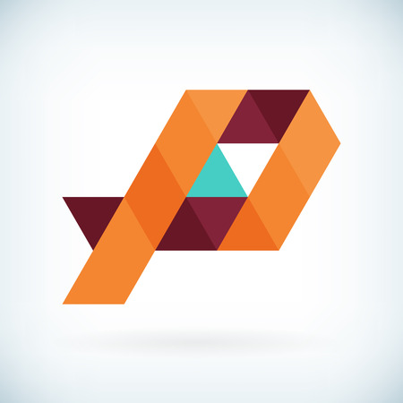 papier a lettre: Moderne lettre P icône design plat élément modèle. isolé.