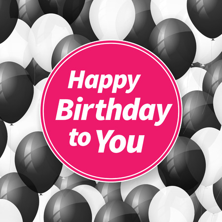 beam with joy: Happy birthday greeting card background with balloons.