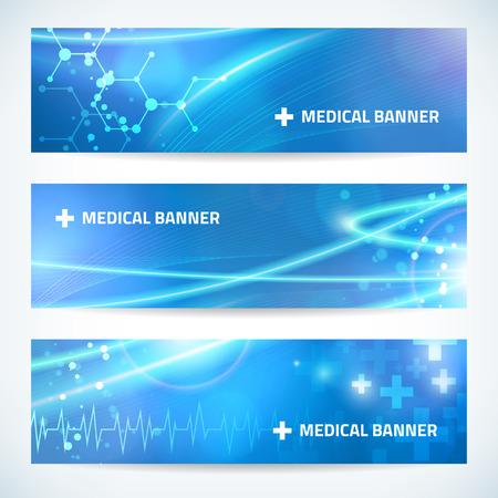 technologie: la technologie médicale ensemble bannière fond pour le web ou print.