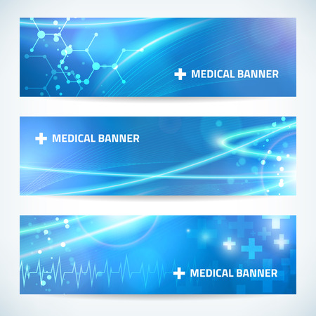 set technology medical banner background for web or print. Stock Photo