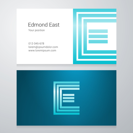 e business: Design icon letter E Business card template. Layered editable. Illustration