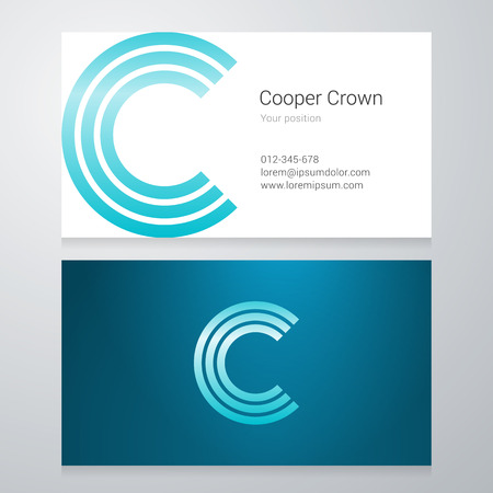 Design icon letter C Business card template. Layered editable. 向量圖像