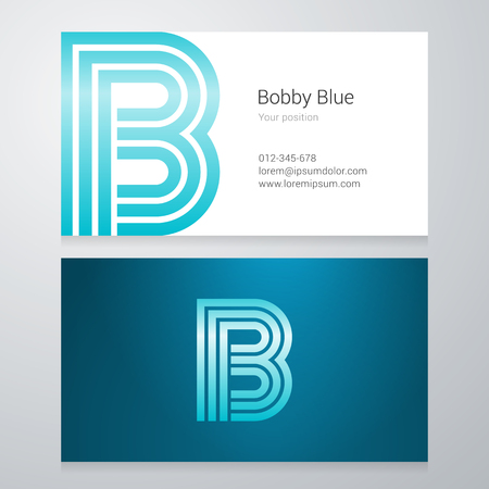 letter b: Design icon letter B Business card template. Layered editable.
