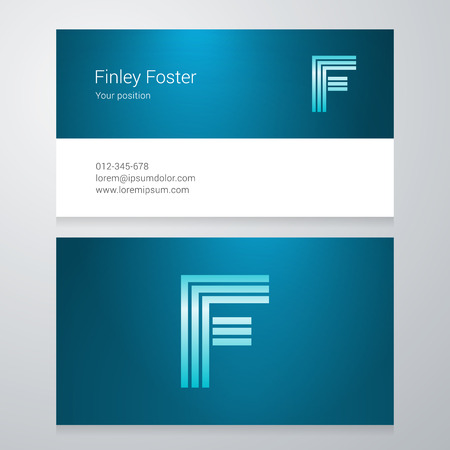 letter f: Design icon letter F Business card template. Layered editable. Illustration
