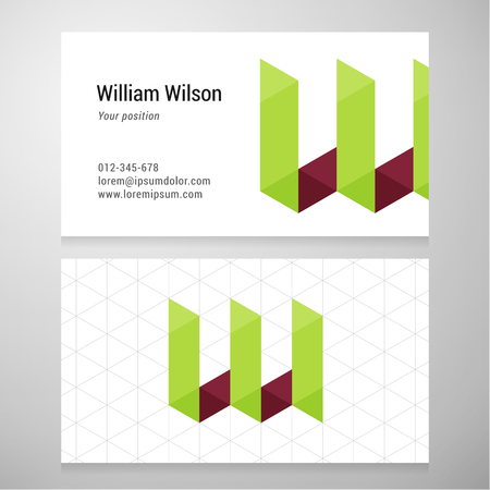 w: Modern letter W origami Business card template.