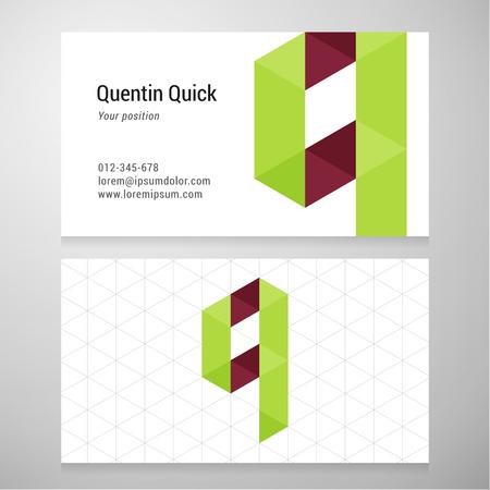 Modern letter Q origami Adreskaartjesjabloon.