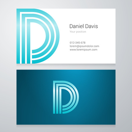 d: Design icon letter D Business card template. Layered editable.