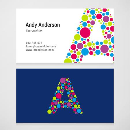 Modern letter A cirkel kleurrijke Adreskaartjesjabloon.