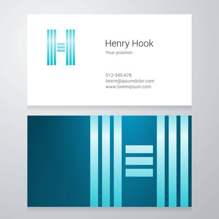 sign h: Design icon letter H Business card template.
