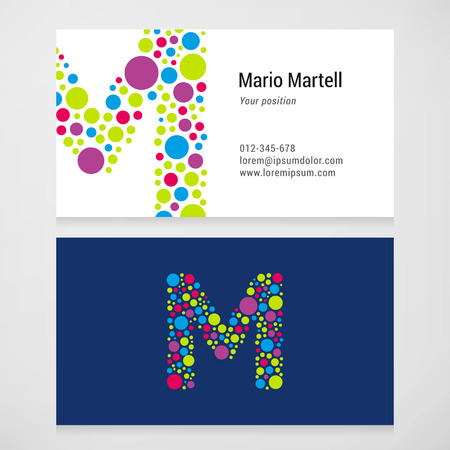 m: Modern letter M circle colorful Business card template.