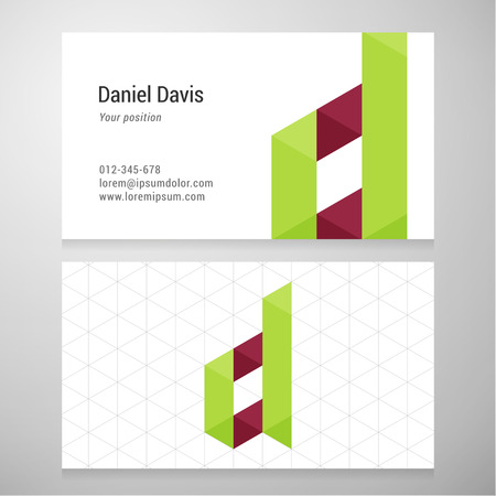 d: Modern letter D origami Business card template.  Illustration