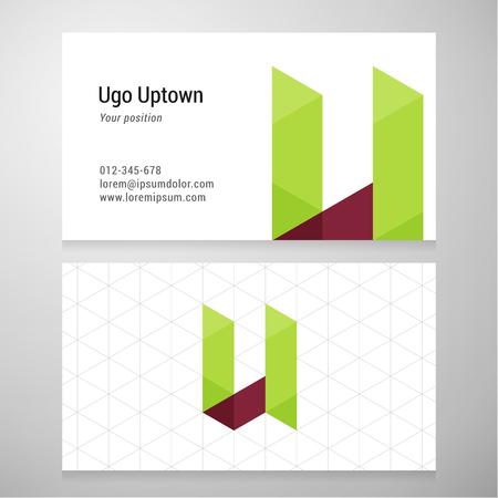 Modern letter U origami Business card template.