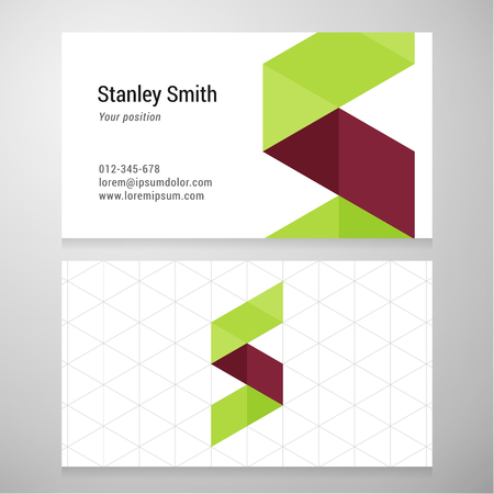 s alphabet: Modern letter S origami Business card template.
