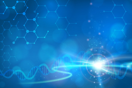 Abstract biotechnology DNA chemistry molecule vector background. layered. Vettoriali