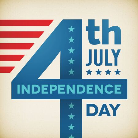 Vintage vintage independence 4th July american day poster. Vector illustration. Layered. Illustration