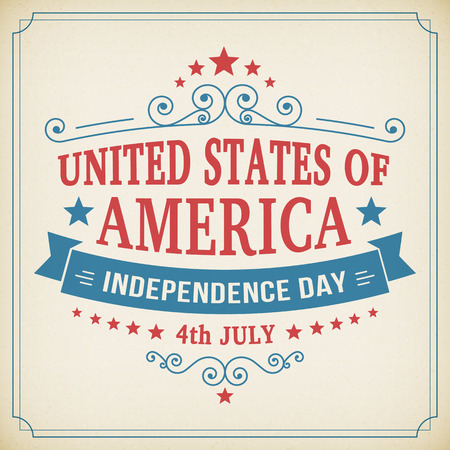 Vintage independence day 4th July american poster on paper background. Vector illustration.  イラスト・ベクター素材
