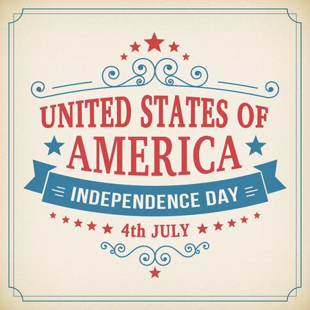 american poster: 4� d�a de la independencia de la vendimia de julio poster americano en el fondo de papel. Ilustraci�n del vector.