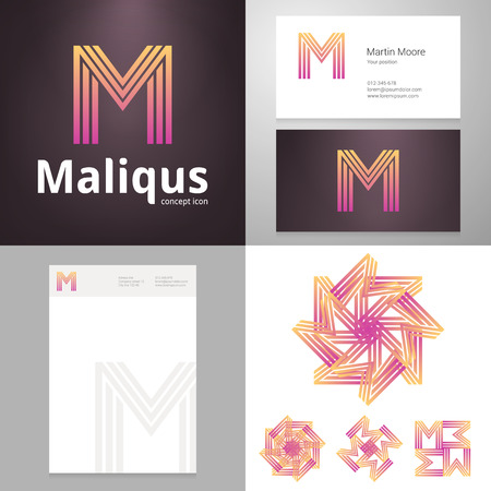 letter m: Design icon letter M element with Business card and paper template. Layered editable.