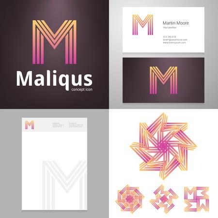 Design icoon letter M element met Business kaart en papieren sjabloon. Gelaagde bewerkbaar. Stock Illustratie