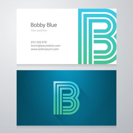 design layout: Design icon letter B Business card template. Layered editable.