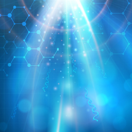 추상 의료 생명 공학 화학 분자 벡터 배경입니다. 계층.
