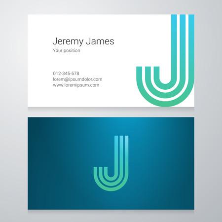 lettre alphabet: Conception lettre d'icône J affaires modèle de carte. Layered modifiable.