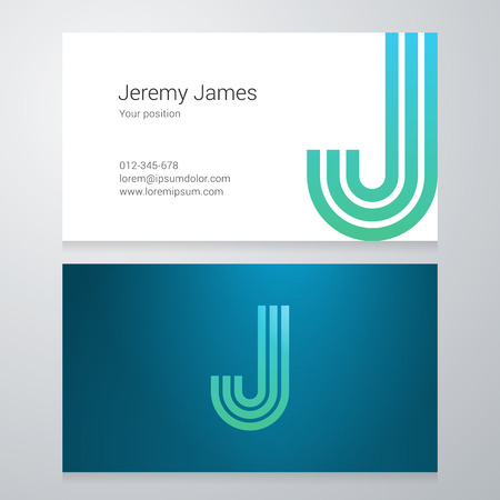 J: Design icon letter J Business card template. Layered editable. Illustration