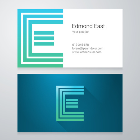 e card: Design icon letter E Business card template. Layered editable. Illustration