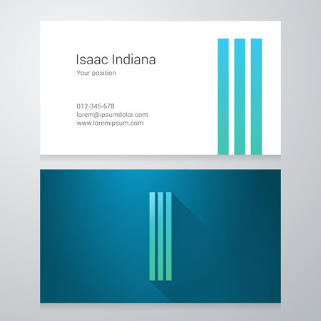 letter i: Design icon letter I Business card template. Layered editable. Illustration
