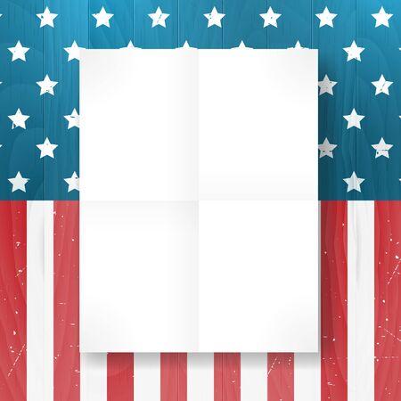 independencia: Vector vintage independencia 04 de julio bandera americana en el fondo de madera. Ilustración del vector. Capas.