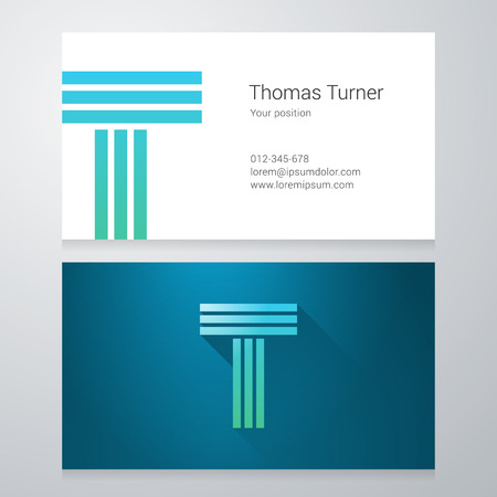 Design icon letter T Business card template. Layered, editable. 向量圖像