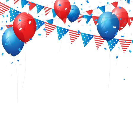4 july: American independence 4 July element flags and confetti background. Vector illustration. Layered. Illustration