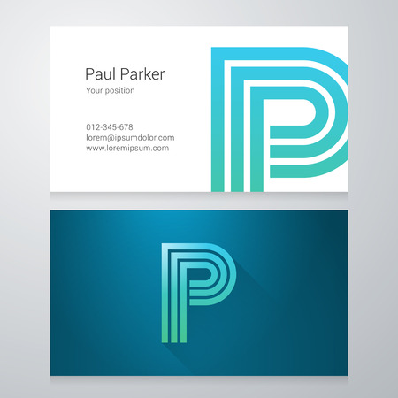Design icon letter P Business card template. Layered, editable.
