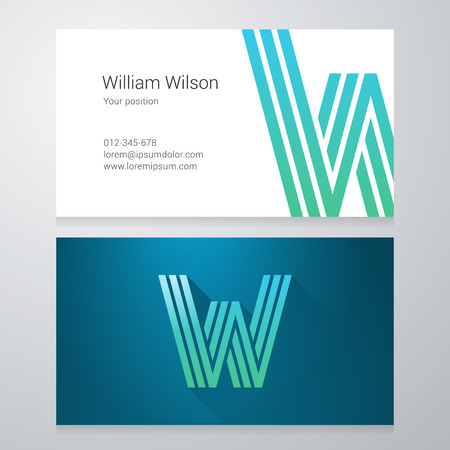 letter w: Design icon letter W Business card template. Layered, editable.