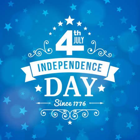 american poster: 4� d�a de la independencia de julio poster americano en el fondo del cielo nocturno. Ilustraci�n del vector.