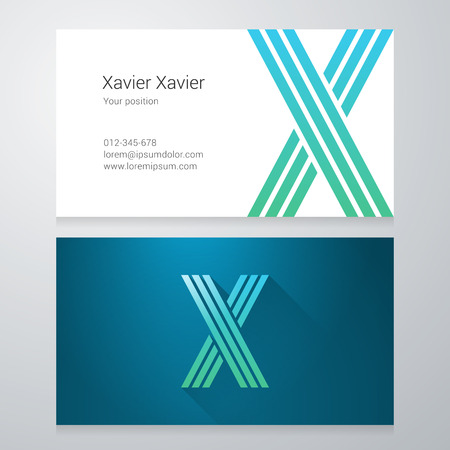 Design icon letter X Business card template. Layered, editable.