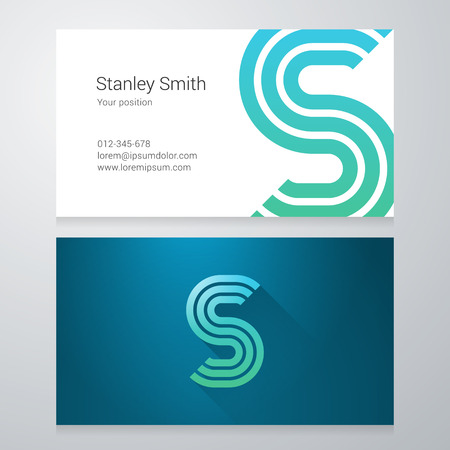 s shape: Design icon letter S Business card template. Layered, editable.