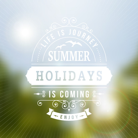 Summer holidays  IS COMING typography poster on blurred vector background