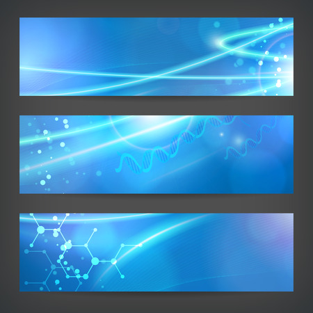 set vector technology chemistry banner vector background for web or print. layered. editable.