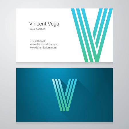letter v: Design icon letter V Business card template. Layered, editable.