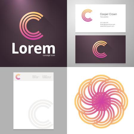 papier a lettre: Conception icône lettre élément C avec la carte d'affaires et le modèle de papier. Layered, modifiable.
