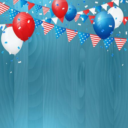 Vector vintage independence 4 July american flag on wood background. Vector illustration. Layered.  イラスト・ベクター素材
