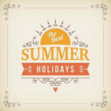 best background: best Summer holidays curl poster on paper vector background