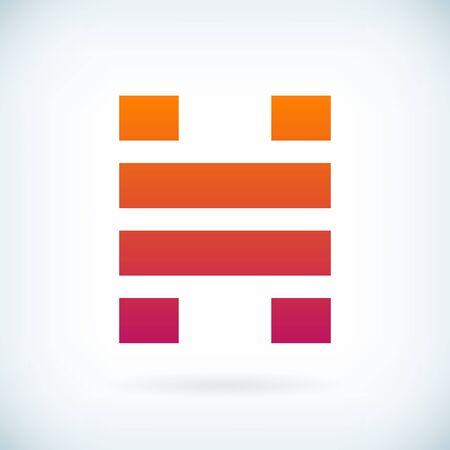 identidad personal: rayas modelo de carta icono H elemento de dise�o. aislado.
